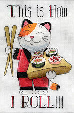 Cross Stitch Kit ~ Design Works This Is How I Roll Sushi Chef Cat #DW2954