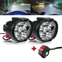 2Pcs 6 LED Motorcycle Headlight Fog Spotlight Driving Light Lamp With Switch Hot