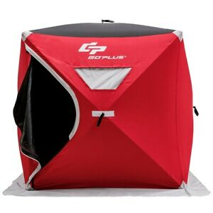 Shanty Ice Fishing Tent Shelter Pop Up 2 Person Portable Waterproof Bag Red
