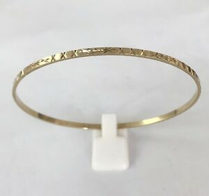 9ct Yellow Gold Solid Patterned Skinny Bangle ~ Fully Hallmarked Item: B0800
