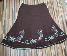 NWT LINEN MIX BROWN A LINE CALF LENGTH LINED SKIRT SIZE 16/18