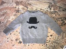 BABY GAP Grey Little Man Mustache Sweater 12-18 Months