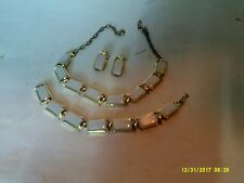 "GOLD TONE & OPALESCENT WHITE PLASTIC 14"" NECKLACE,6 1/4"" BRACELET& 1"" EARRINGS"