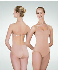 Body Wrappers 277 Women's XLarge Nude Microfiber Leotard w/ Clear Adj. Straps
