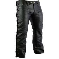 hombre pantalones de cuero Motorista Moto Negro Todas Las Tallas Hasta 60