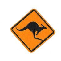 ROADSIGN KANGAROO Iron on / Sew on Patch Embroidered Badge Motif Souvenir PT349