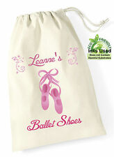 Ballet Dance Shoes Bag Cotton Draw String Personalised Pink Print Girly Show Bc