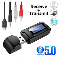 Bluetooth 5.0 Audio Stereo Transmitter Receiver LCD USB Adapter for TV PC AUX