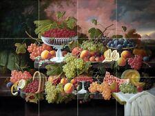 Still Life with Fruit and Sunset Landscape Tile Mural Kitchen Backsplash 24x18