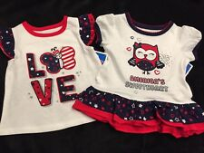 NWT July 4th Patriotic Red, White & Blue Lot 2 Tops 3-6 Months Owl & Butterfly