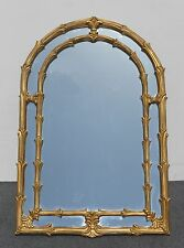 """Tall 58""""HIGH  x 34 Unique Vintage WALL MANTLE MIRROR  Gold Painted Floral Design"""