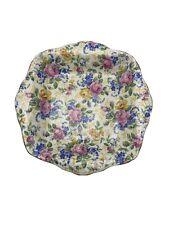 James Kent Rosalynde Jewel Square Handled Dish Pink Yellow Floral Chintz