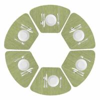 Round Table Placemats Set of 6 Wedge Washable Table mats for Kitchen Table