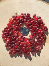 32 RED SMALL TINY PIECES  JEWELRY TUMBLED MOSAIC BEACH SEA GLASS