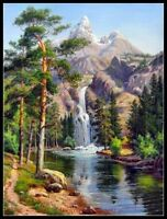Waterfall mountains - DIY DMC Chart Counted Cross Stitch Patterns Needlework