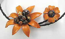 Orange Leather EXOTIC Flower w Pearl & Tiger Eye Bead Choker