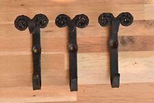 Set of three hand made wrought iron rams head hooks folk art sheep hook RHH1