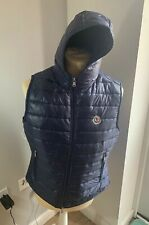 Authentic Men's Navy Moncler Patrick Shiny Effect Hooded Gilet- Size 4
