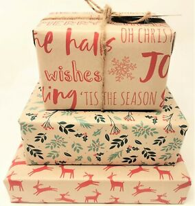 Christmas Kraft Wrapping Paper - Brown Eco - Sheets = 50 x 70 cm - Tags + String