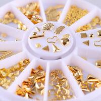 Gold Rivet 3D Nail Art Decoration Heart Leaf Shell Theme  Bead  Decor Salon Tool