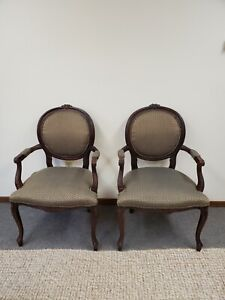 Vintage FLEXSTEEL Queen Anne Carved Arm Chairs Set of 2