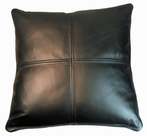 Pillow Leather Cover Genuine Cushion Black Decorative Throw Soft Free Shipping 2
