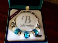 Bella Perlina Charm Bead Bracelet - Aqua Blue Palm Tree Starfish - NIB
