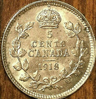 1918 CANADA SILVER 5 CENTS COIN - Uncirculated