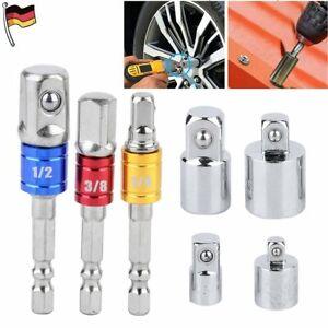 "7 Tlg Stecknuss Adapter Sechskant Auf 1/4"" 1/2"" 3/8"" Zoll Vierkant Nuss Halter"