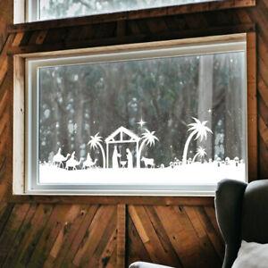 Christmas Nativity Bethlehem Window Scene Sticker / Decoration Cut to length
