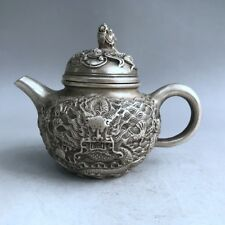 China Antiques Tibetan silver hand-carved Chinese Zodiac dragon teapot wine pot