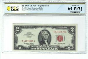 1963 $2 RED SEAL US NOTE PCGS 64 PPQ CHOICE UNCIRCULATED