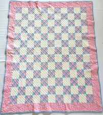 Antique 1930's Hand Stitched 10 spi Pink Blue 9 Patch Postage Stamp Quilt 50x40