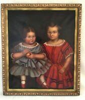Antique Large Oil Painting Framed Portrait of Children Girls American School
