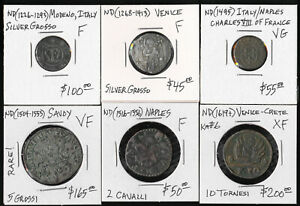 (1226-1619) SIX ITALY COINS of NAPLES VENICE MODENO SAVOY > CV $600+ USD > NO RS