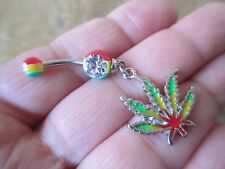 Rasta Pot Leaf Medical Marijuana 420 Belly Button Navel Ring Piercing