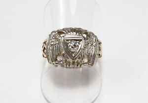 Vintage 1950s Masons 32nd Degree Double Eagle 10K Gold Diamond Band Ring Sz 8.5