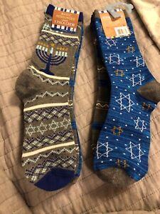 Novelty Socks Hanukkah Crew 9-11 Basic Resources 3 Pack Menorah Star David