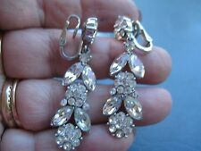 TRIFARI Rhinestone Flower Drop Clip On Earrings Stunningly Beautiul Silver Plate