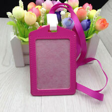 1pc PU Id Holders Case Business Badge Card Holder with Necklace Lanyard LA