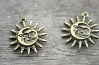 6pcs Sun and Moon Pewter Charm  Bronze tone Sun and Moon Charm Pendant 25x30mm