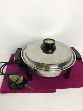 KITCHEN CRAFT West Bend Liquid Core Stainless Steel Electric Skillet w/ Lid Cord