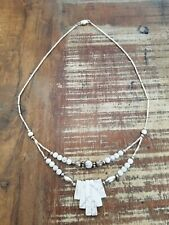 Vintage Navajo White Buffalo Turquoise Sterling Silver Necklace Beautiful