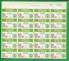 Washington State Fruit Commission 1c Tax Stamp #FR8 Mint Full Sheet No. 2084