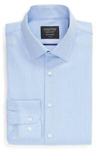 $70 NORDSTROM TECH SMART TRIM FIT HERRINGBONE LIGHT BLUE DRESS SHIRT 16 X 35