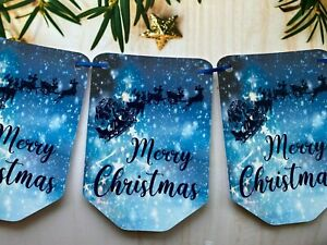 Merry Christmas Bunting Santa Xmas holiday elf Party Flag Hanging Banner CB114b