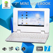 "Latest 7"" Inch 4GB White Android 4.1 Mini Notebook Laptop WIFI Computer PC Kids"