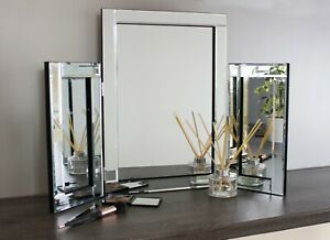 Dressing Table Mirror Luxury Glass Bedroom Vanity Free Standing Tri Fold