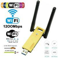 1200Mbps USB 3.0 Long Range AC1200 Dual Band 5GHz Wireless WiFi Adapter Antennas