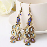 Retro Charming Boho Blue Rhinestone Peacock-Pattern Teardrop Tail Dangle Earring